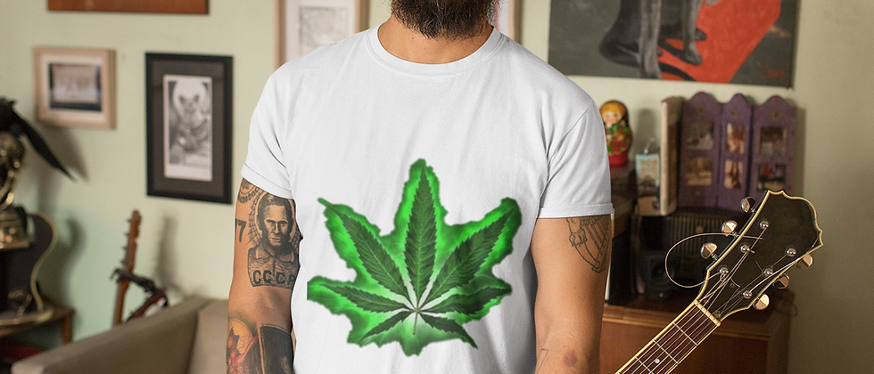 T-Shirt - Men's Fitted with Glowing Leaf