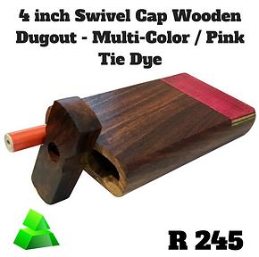 "Green goddess. 4"" swivel cap wooden dugout. Multi-color / Pink tie dye."