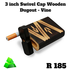 "Green goddess. 3"" swivel cap wooden dugout. Vine."