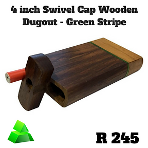"""Green goddess. 4"""" swivel cap wooden dugout. Green stripe."""