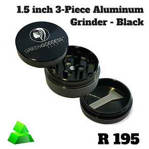 Green goddess. 1.5 inch 3-piece Aluminum grinder. Black.
