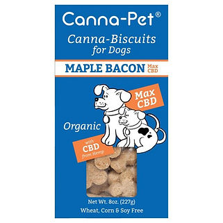Canna-pet. Canna-biscuits for dogs. Advanced Max CBD. Maple Bacon. Organic.