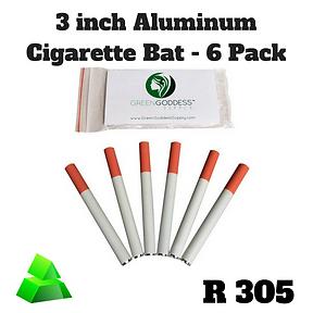 "Green goddess. 3"" Aluminum tobacco bat pipe. 6 pack."