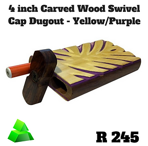"Green goddess. 4"" carved wood swivel cap dugout. Yellow/Purple."