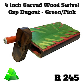 "Green goddess. 4"" carved wood swivel cap dugout. Green/Pink."