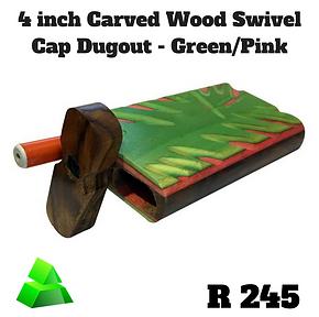 "Green goddess. 4"" carved wood swivel cap dugout. Green/Pink."