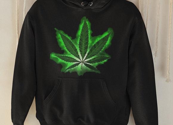 Premium Black Hoodie - Glowing Cannabis Leaf