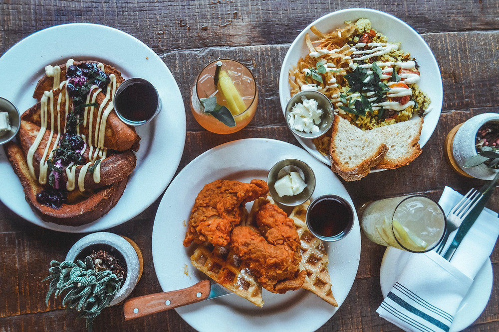 Brunch dishes at The Beer Plant in Austin, Texas