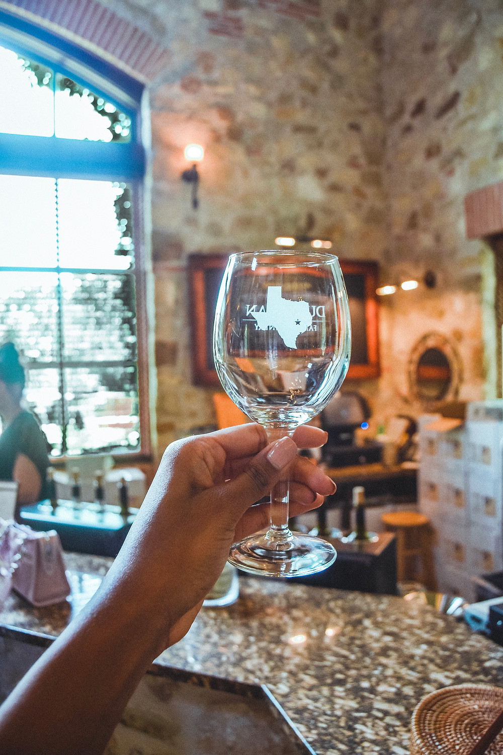 texas wine glass at the duchman family winery