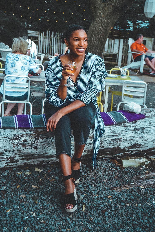 Enjoying a glass in Lenoir wine garden in Austin, Texas