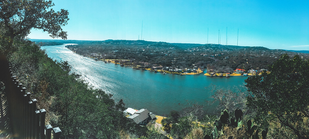 Mount Bonnell in Austin, Texas overlooking he city of Austin, Lake Austin, and the surrounding hills