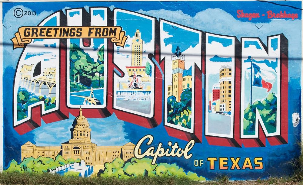 Greetings from Austin Mural in Austin, Texas