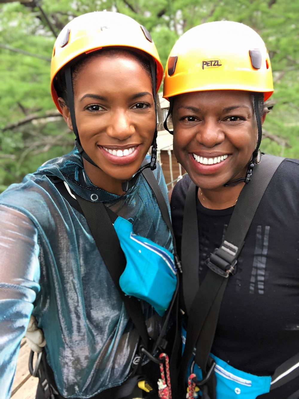 Mom and I zip-lining at Cypress Valley Canopy Tours
