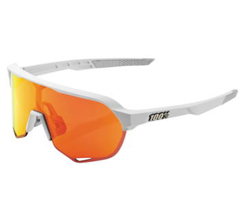 100% S2 Sunglasses Soft Tact Off-White with Red Lens