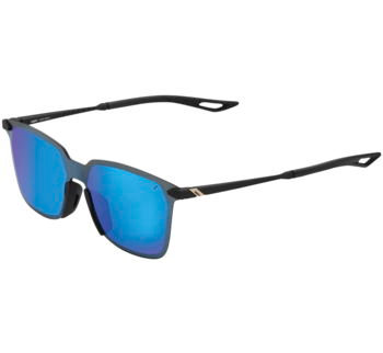 100% Legere UltraCarbon Square Sunglasses Soft Tact Black with Blue Lens