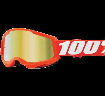 100% Strata 2 Goggles Orange with Gold Mirror Lens