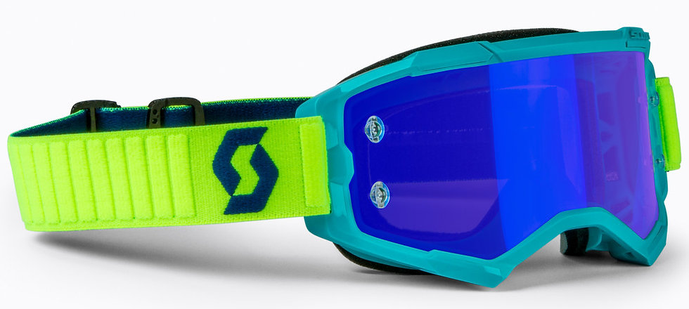 SCOTT FURY GOGGLE TEAL BLUE/NEON YLW ELECTRIC BLUE CHROME WORKS
