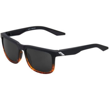 100% Blake Sunglasses Soft Tact Fade Black with Havana Lens