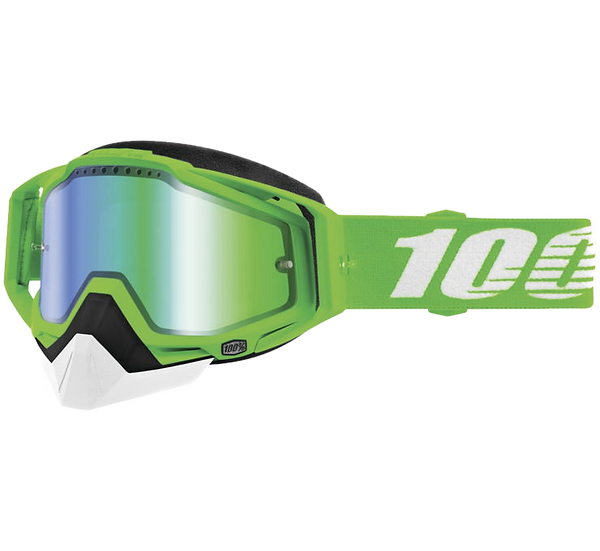 100% Racecraft Snow Goggles Organic 2 with Green Vented Lens