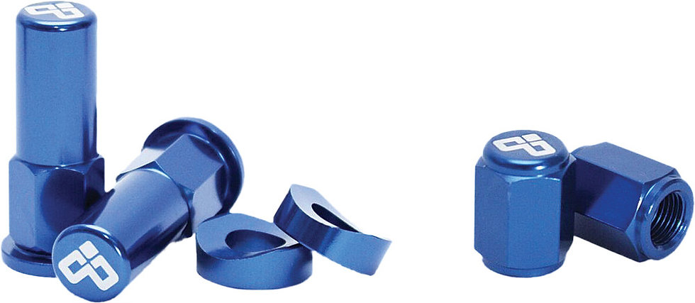 DUBYA RIM LOCK NUT & VALVE CAP KIT BLUE