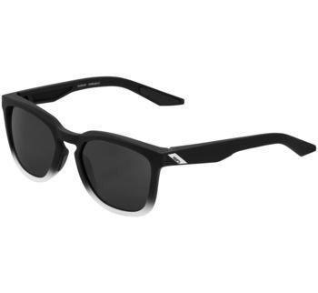 100% Hudson Sunglasses Soft Tact Fade Black/White with Havana Lens