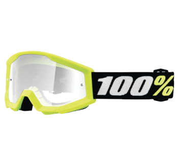 100% Strata Mini Goggles Neon Yellow with Clear Lens