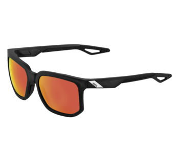 100% Centric Sunglasses Soft Tact Crystal Black w/Red Mirror HiPer Lens