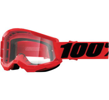 100% Strata 2 Goggles Red with Clear Lens