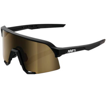 100% S3 Performance Sunglasses Soft Tact Black with Soft Gold Mirror Lens