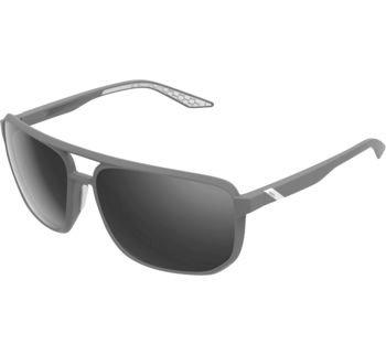 100% Konnor Aviator Square Sunglasses Soft Tact Dark Haze with Smoke Lens