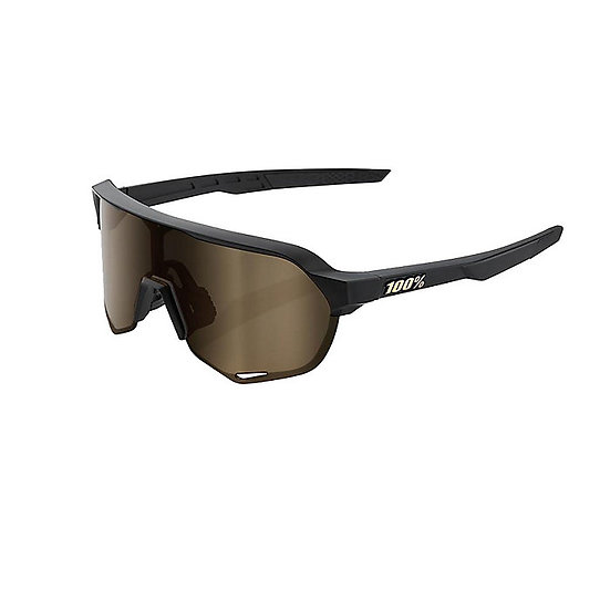 100% S2 Sunglasses Matte Black with Soft Gold Mirror Lens