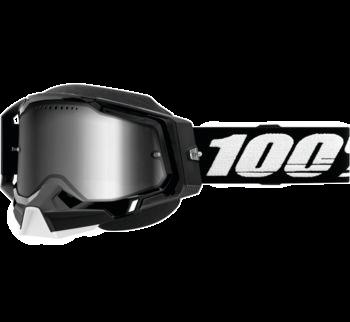 100% Racecraft 2 Snow Goggles Black with Silver Mirror Lens