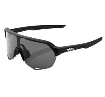 100% S2 Sunglasses Soft Tact Black with Smoke Lens