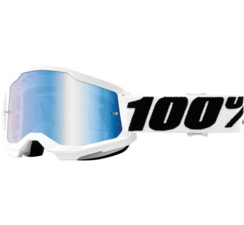 100% Strata 2 Goggles Everest with Blue Mirror Lens