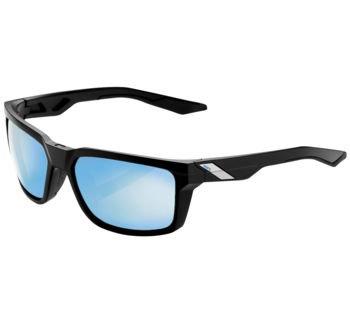 100% Daze Sunglasses Matte Black with Blue Mirror HiPer Lens