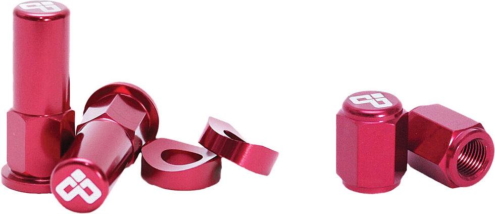 DUBYA RIM LOCK NUT & VALVE CAP KIT RED