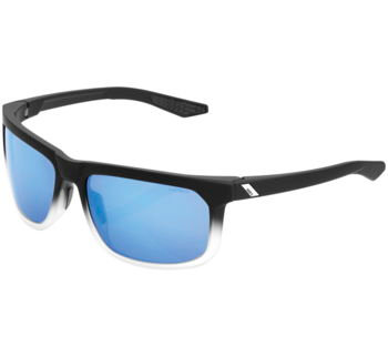100% Hakan Sunglasses Soft Tact Black/White Fade with Blue Lens