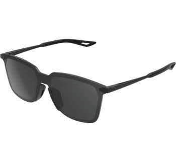 100% Legere UltraCarbon Square Sunglasses Polished Black with Smoke Lens, Square