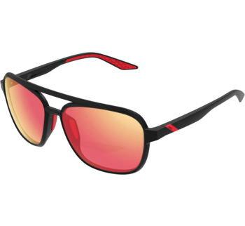 100% Kasia Aviator Round Sunglasses Soft Tact Black, Round, HiPER Red Lens