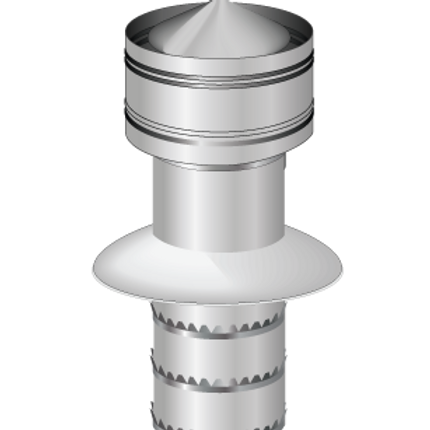 Push to fit for universal anti down draughts twin wall chimney cowl.