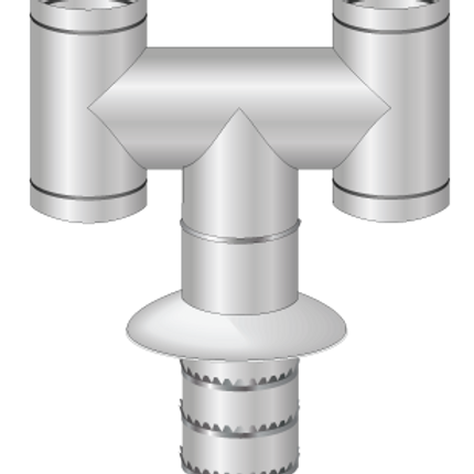 "Push to fit for H Cowl for twin wall chimney systems, universal fitting for 5"", 6"", 8""."