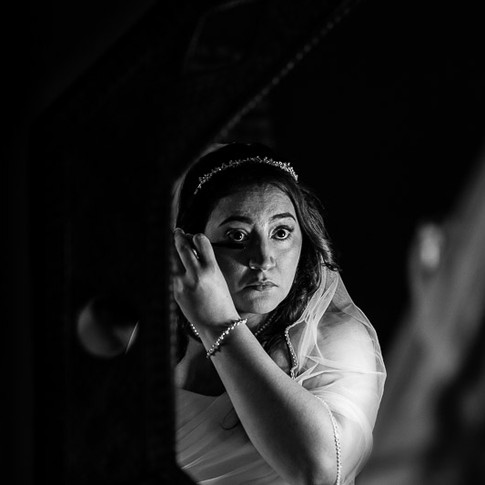bride mirror reflection makeup getting ready tucson wedding photography