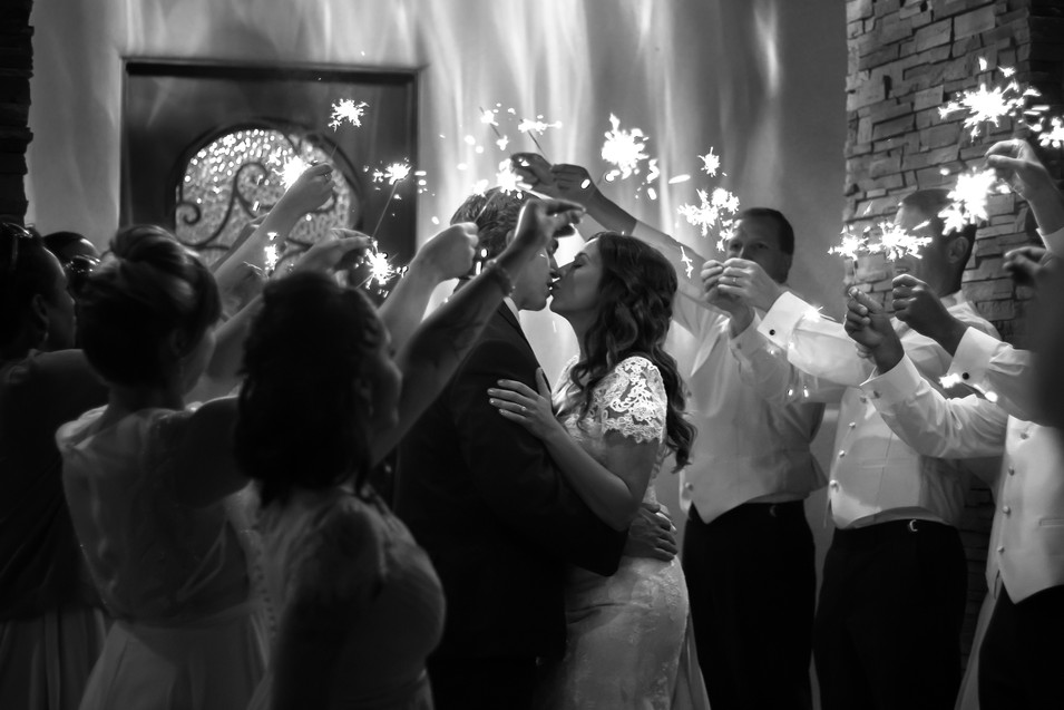 tucson wedding photographer sparkler exit kiss black white sierra vista arizona