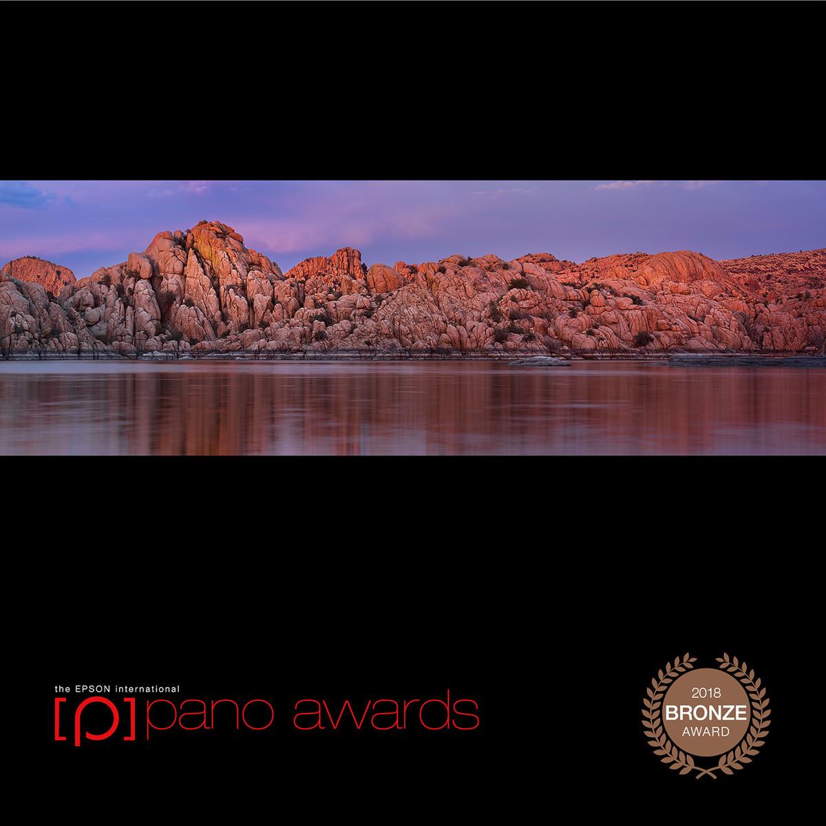 granite dells prescott arizona water rocks reflection award winning photography sunset epson panorama award