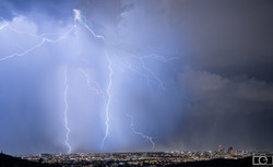 Lightning Tucson monsoon city clouds