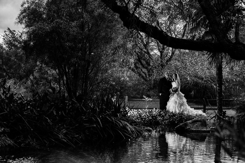 tucson wedding photographer bride groom pond reflection Amado