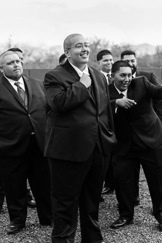 tucson wedding photographer groom with groomsmen getting ready