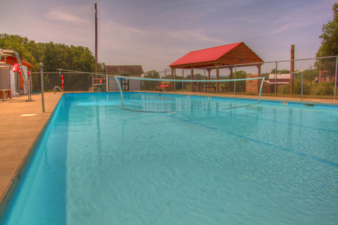 Residents enjoy the heated swimming pool.