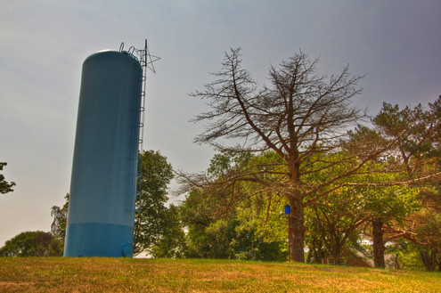 Our iconic water tower can be seen at the next town.