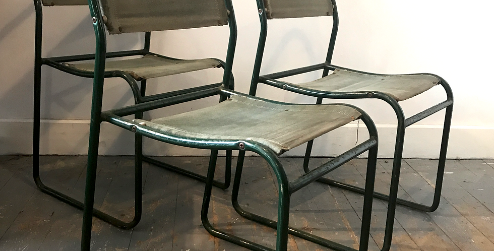 Set of Three Green Industrial Style Tubular Metal and fabric Cox Chairs